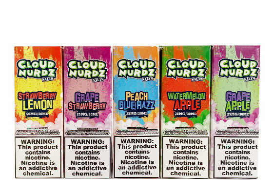 hot products CLOUD NURDZ 30ml/25mg Five mixed fruit  flavors !
